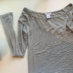 Grey Striped Off The Shoulder